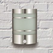 Edle IR Wand-Außenleuchte Außenlampe mit Bewegungsmelder aus Edelstahl & Echtglas Gartenleuchte 1010-pir - 1